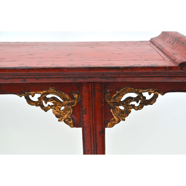 Asian 19th C Chinese Red Lacquered Altar Table With Gold Detail For Sale - Image 3 of 7