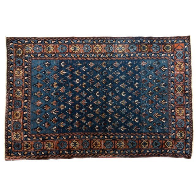 Blue Antique Yerevan Rug with Modern Tribal Style, Antique Russian Armenian Rug For Sale - Image 8 of 10