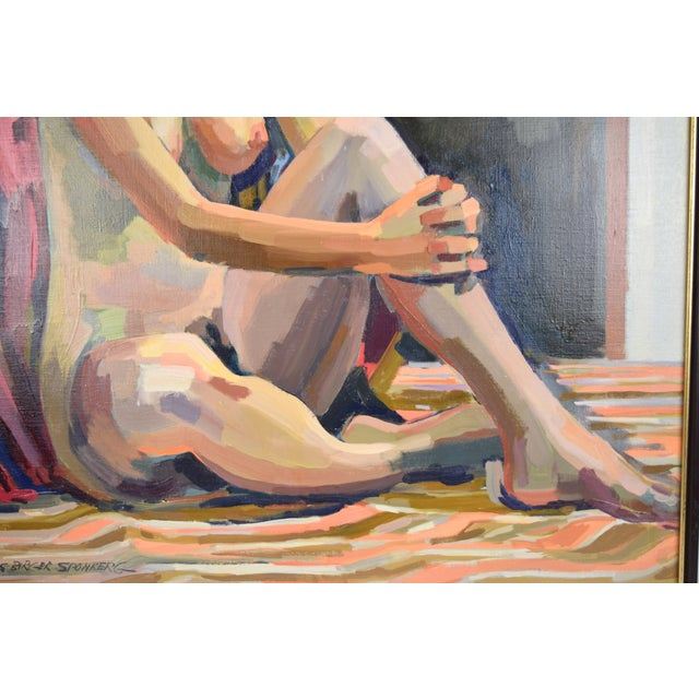 """1970s 1970s """"Nude Blonde Woman"""" Oil Painting by Lars Birger Sponberg For Sale - Image 5 of 8"""