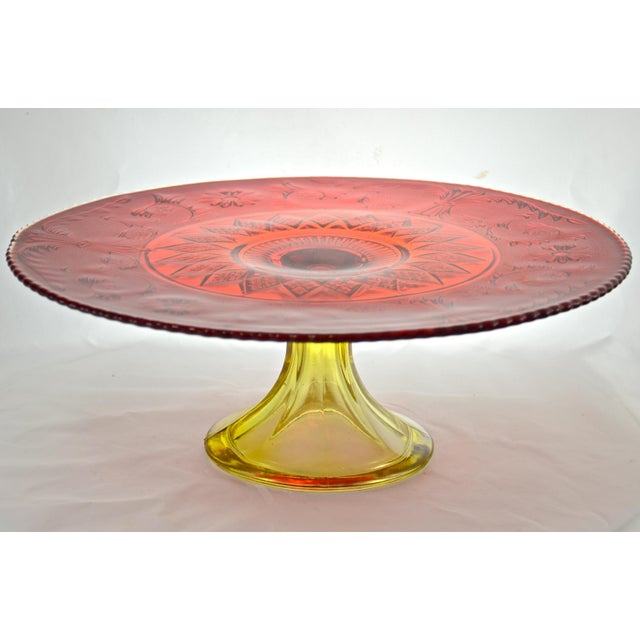 Mid-Century Modern Red & Yellow Amberina Pedestal Cake Stand For Sale - Image 3 of 5