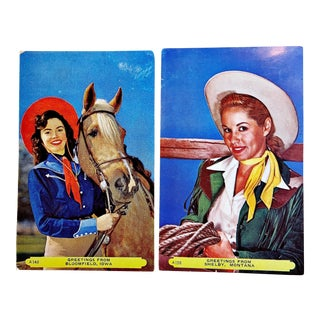 1950s Vintage Cowgirl Postcards - Set of 2 For Sale