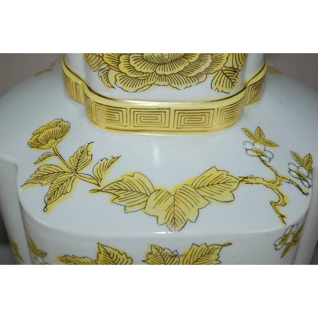 Marbro Italian Porcelain Table Lamps Yellow For Sale - Image 9 of 10