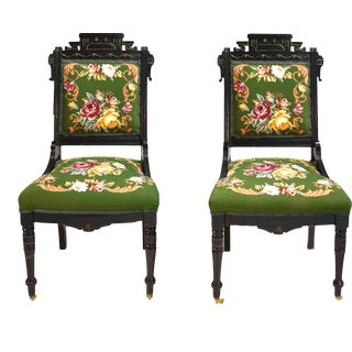 Antique Victorian Eastlake Needlepoint Parlor Chairs - a Pair For Sale