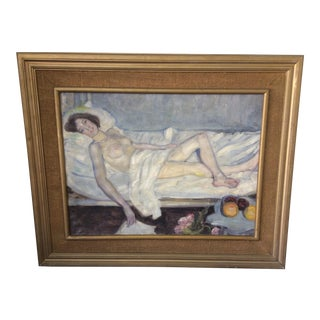 Nude Woman Unsigned Oil Painting For Sale