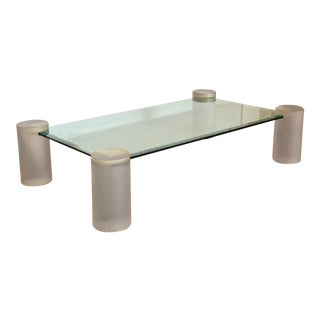 1980s Karl Springer Lucite Pedestals & Glass Coffee Table For Sale