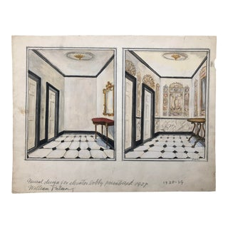 Mural Design for Elevator Lobby by William Palmer, 1929 For Sale