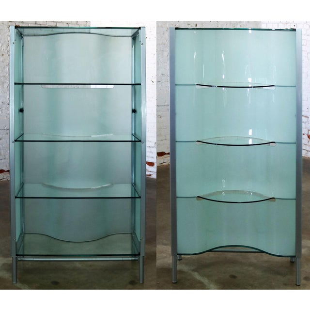 Offering a modern dual sided translucent glass and frosted glass enclosed display cabinet, vitrine, étagère, or room...