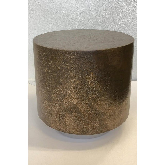 Bronze and Polish Stainless Steel Drum Side Table by Steve Chase For Sale In Palm Springs - Image 6 of 8