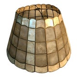 """Image of 1960s Mid Century Modern 16"""" Capiz Shell & Brass Lamp Shade Scalloped Top and Base For Sale"""