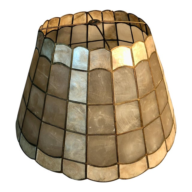 "1960s Mid Century Modern 16"" Capiz Shell & Brass Lamp Shade Scalloped Top and Base For Sale"