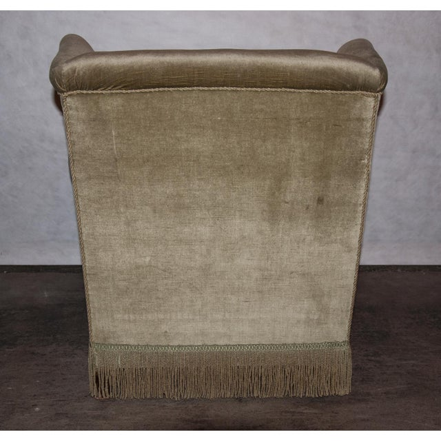 Green Circa 1950 United States French Style Green Velvet Lounge Chair With Fringe Skirt For Sale - Image 8 of 9