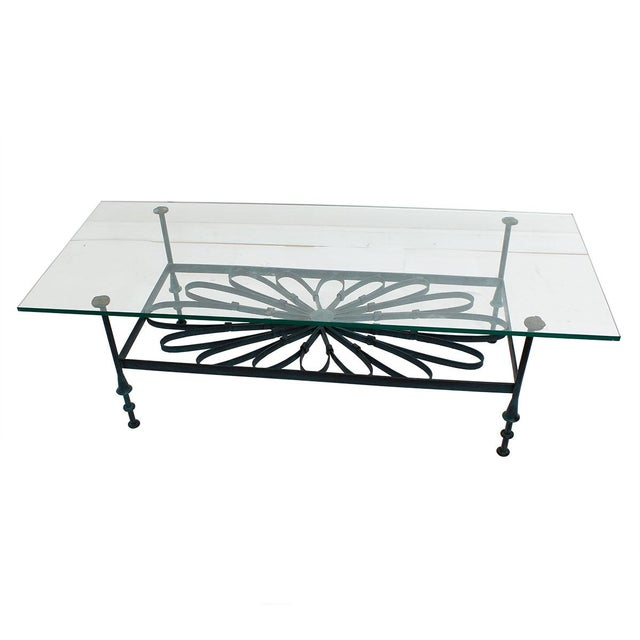 Decorator Wrought Iron & Glass Coffee Table - Image 1 of 7