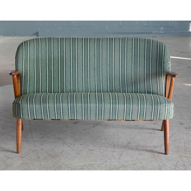 Danish Midcentury Sofa with Teak Armrests in the Style of Kurt Olsen for Bramin For Sale - Image 5 of 10