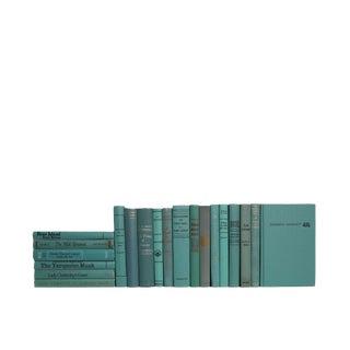 Midcentury Novels in Turquoise : Set of Twenty Decorative Books