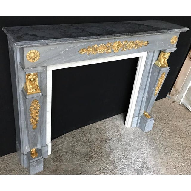 "Beautiful ""Bleu Turquin"" Marble Chimney in the French Empire Style, 19th Century For Sale - Image 6 of 10"