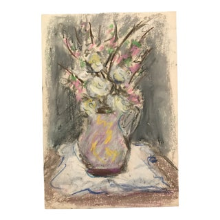 1940s Floral Still Life Pastel Painting For Sale