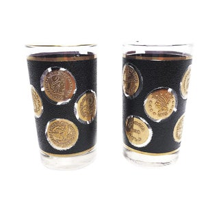 1950d Mid Century Libbey Black Textured Highball Glasses With Gold Coin Motifs - a Pair For Sale
