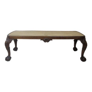 20th Century Traditional Style Caned Bench
