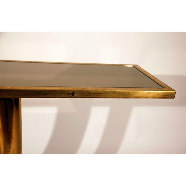 """Modern The """"Calandre"""" Brass and Bronze Mirrored Console For Sale - Image 3 of 9"""