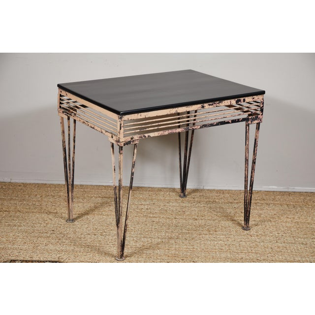 Metal Vintage Iron Table With Black Wood Top For Sale - Image 7 of 9