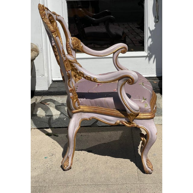 Rococo Venetian Purple Palazzo Arm Chair by Charles Pollock for William Switzer For Sale - Image 3 of 5