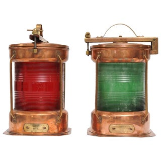 Pair of Port and Starboard Copper Ship's Navigational Lights, Midcentury