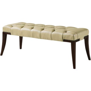 Thomas Pheasant for Baker Tufted Leather Bench For Sale