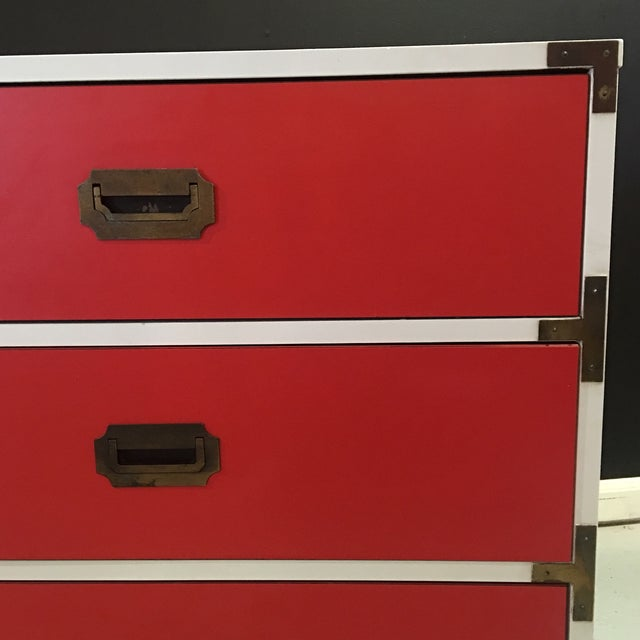 Vintage White & Orange Campaign Dressers - A Pair - Image 3 of 9