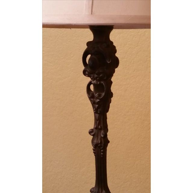 Art Nouveau Art Nouveau-Style Floor Lamp With Silk Shade For Sale - Image 3 of 5