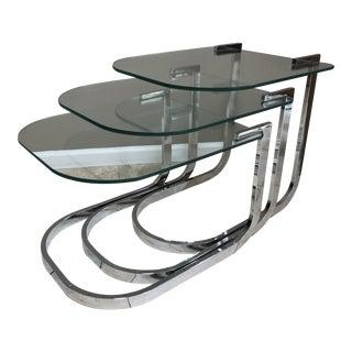 Mid-Century Modern Milo Baughman Dia Chrome & Glass Nesting Tables, Set of 3 For Sale