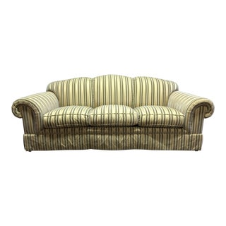 Baker Roll Arm Sofa in Cut Velvet For Sale