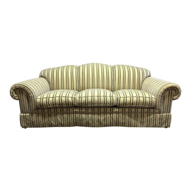 Baker Roll Arm Sofa in Cut Velvet For Sale