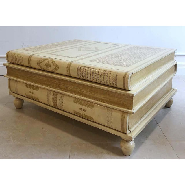 Mid 20th Century Neoclassical White-Parchment Leather Book Coffee Table by Maitland-Smith For Sale - Image 5 of 10