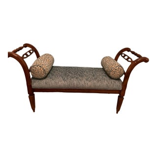 Vintage Milling Road Baker Furniture Upholstered Bench For Sale