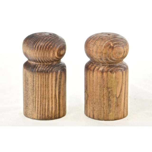 Rustic Turned Wood Salt & Pepper Shakers For Sale In Chicago - Image 6 of 6