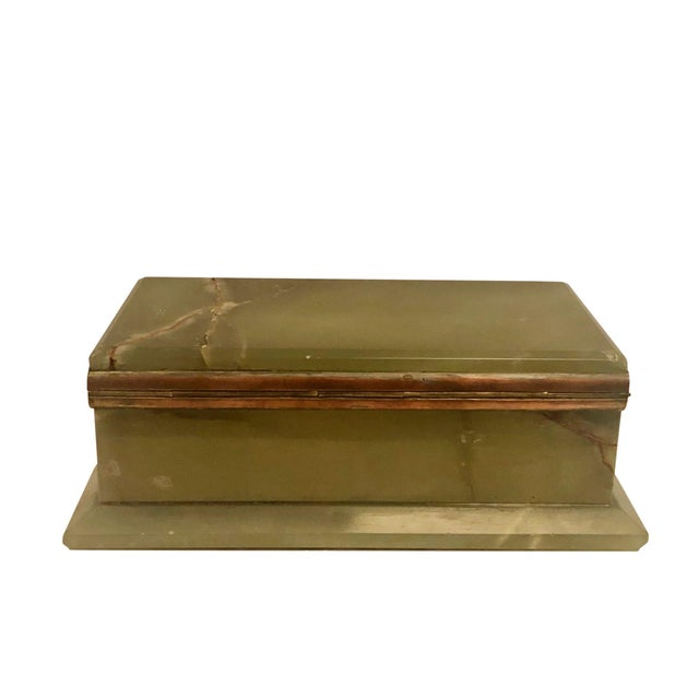 1940s Large Onyx and Bronze Table Box For Sale - Image 10 of 12