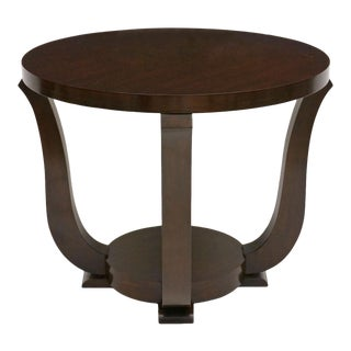 French Art Deco Circular Walnut Table With Curved Supports, Circa 1940s For Sale