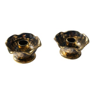 Vintage Black & Gold Candle Holders by Stangl - a Pair For Sale
