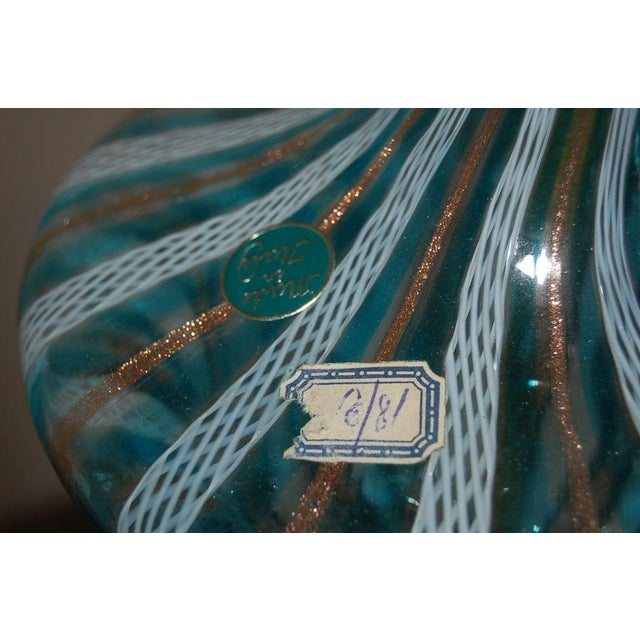 Dino Martens Vintage Murano Glass Table Lamps Turquoise For Sale - Image 9 of 10