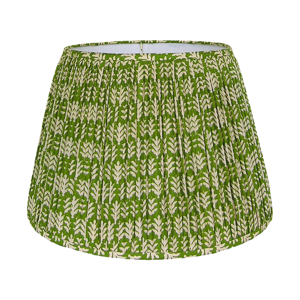 Lighting U003e Lamp Shades. New, Made To Order, Green And Cream Cotton Printed  Fabric, Pleated/Gathered