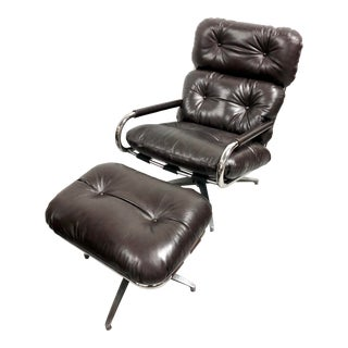 Mid Century Modern Milo Baughman Chrome Swivel and Leather Lounge Chair for Directional For Sale