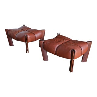 1970s Vintage Percival Lafer Rosewood and Leather Ottomans- A Pair For Sale