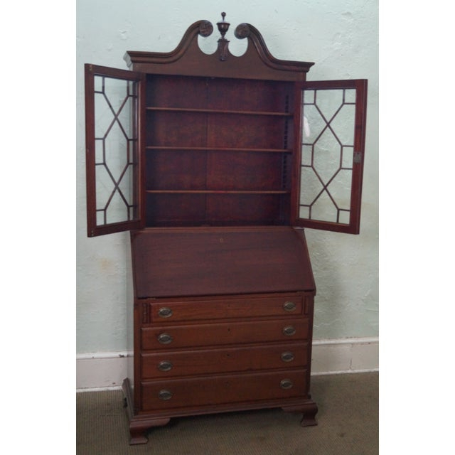 Antique Bench Made Solid Mahogany Chippendale Style Secretary Desk - Image  2 of 10 - Antique Bench Made Solid Mahogany Chippendale Style Secretary Desk
