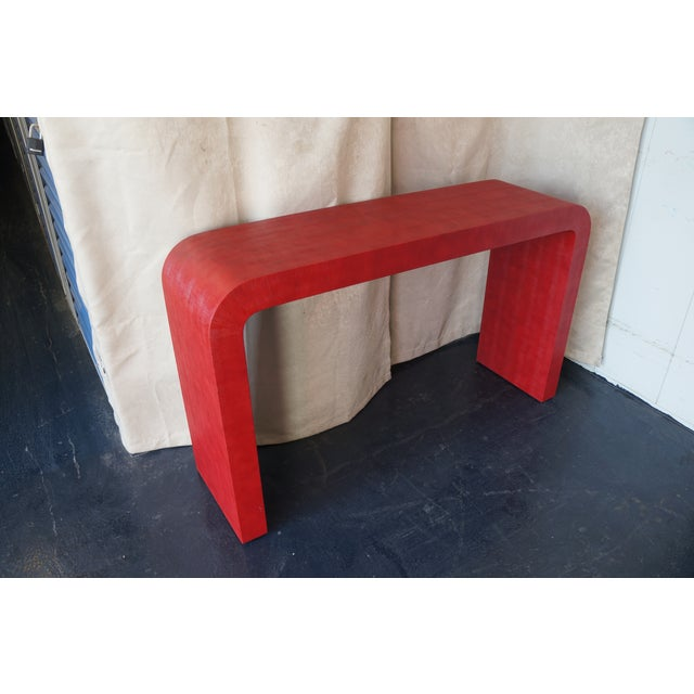 Karl Springer Style Faux Shagreen Console Table - Image 6 of 6