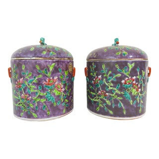 Vintage Export Nyonya Straits Chinese/Peranakan Purple 'Spring Flower' Ginger Jars / Urns - a Pair For Sale