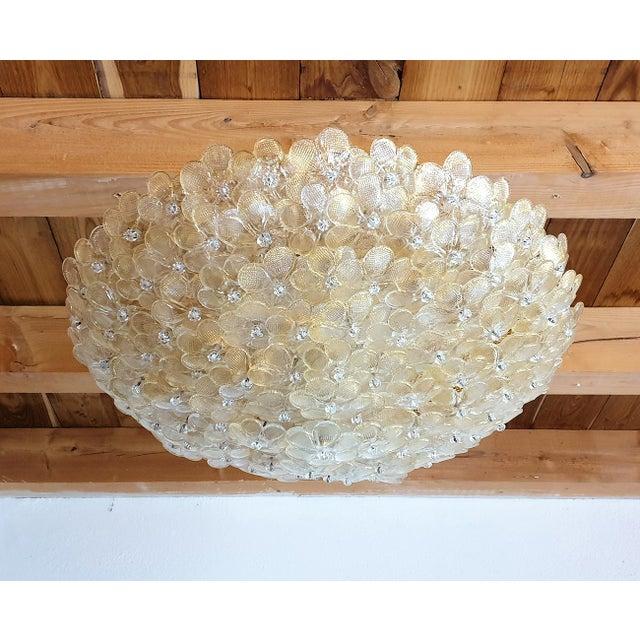 Metal 1970s Barovier Large Mid Century Modern Murano Glass Flower Flush Mount Light For Sale - Image 7 of 11