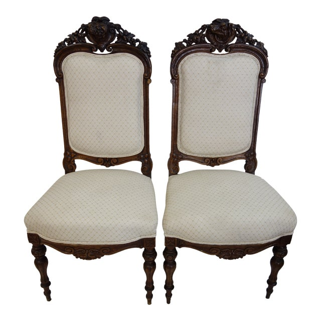 Pair 19th Century Traditional Carved Dog Head Chairs For Sale