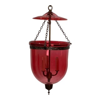 Vintage Red Glass Bell Jar Lantern, India Circa 1960 For Sale