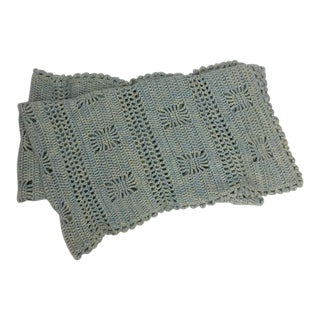 Hand Crocheted Artisan Wool Blend Throw For Sale