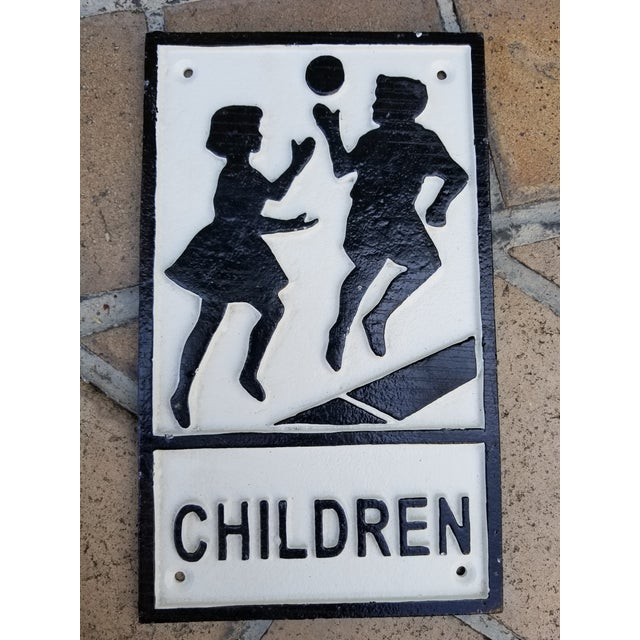 English Iron Beware Children Sign For Sale - Image 3 of 3